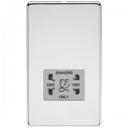 Knightsbridge Screwless Polished Chrome Dual Voltage 115V/230V Shaver Socket - Grey Insert
