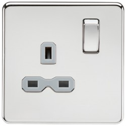Knightsbridge Screwless Polished Chrome 13A 1 Gang DP Switched Socket - Grey Insert