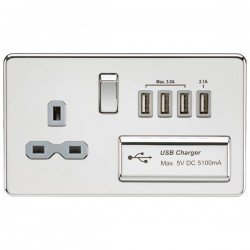 Knightsbridge Screwless Polished Chrome 13A Switched Socket with Quad USB Charger - Grey Insert