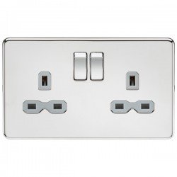 Knightsbridge Screwless Polished Chrome 13A 2 Gang DP Switched Socket - Grey Insert