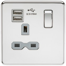 Knightsbridge Screwless Polished Chrome 13A 1 Gang Switched Socket with Dual USB Charger - Grey Insert