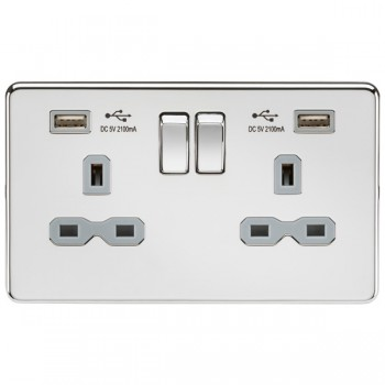 Knightsbridge Screwless Polished Chrome 2 Gang 13A Switched Socket with Dual USB Charger - Grey Insert