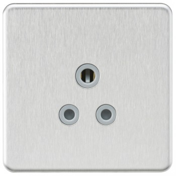 Knightsbridge Screwless Brushed Chrome 5A Unswitched Round Pin Socket - Grey Insert