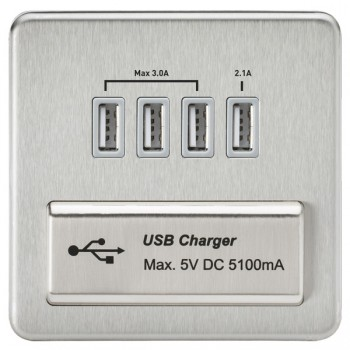 Knightsbridge Screwless Brushed Chrome 1 Gang Quad USB Charger Outlet - Grey Insert