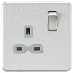 Knightsbridge Screwless Brushed Chrome 13A 1 Gang DP Switched Socket - Grey Insert