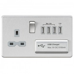 Knightsbridge Screwless Brushed Chrome 13A Switched Socket with Quad USB Charger - Grey Insert