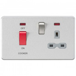 Knightsbridge Screwless Brushed Chrome DP Switch and 13A DP Switched Socket with Neon - Grey Insert