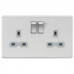 Knightsbridge Screwless Brushed Chrome 13A 2 Gang DP Switched Socket - Grey Insert