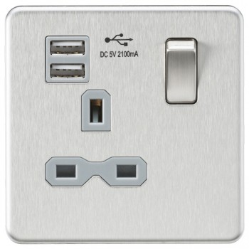 Knightsbridge Screwless Brushed Chrome 13A 1 Gang Switched Socket with Dual USB Charger - Grey Insert