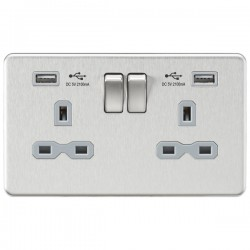 Knightsbridge Screwless Brushed Chrome 2 Gang 13A Switched Socket with Dual USB Charger - Grey Insert