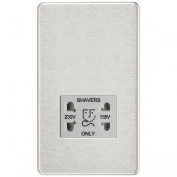 Knightsbridge Screwless Brushed Chrome Dual Voltage 115V/230V Shaver Socket - Grey Insert