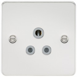 Knightsbridge Flat Plate Polished Chrome 5A Unswitched Round Pin Socket - Grey Insert