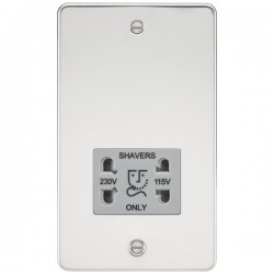 Knightsbridge Flat Plate Polished Chrome Dual Voltage 115V/230V Shaver Socket - Grey Insert