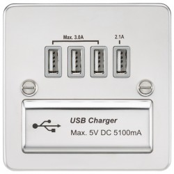 Knightsbridge Flat Plate Polished Chrome 1 Gang Quad USB Charger Outlet - Grey Insert