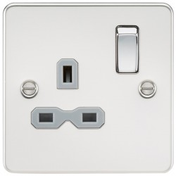 Knightsbridge Flat Plate Polished Chrome 13A 1 Gang DP Switched Socket - Grey Insert