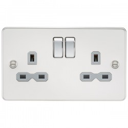 Knightsbridge Flat Plate Polished Chrome 13A 2 Gang DP Switched Socket - Grey Insert
