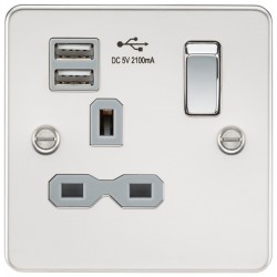 Knightsbridge Flat Plate Polished Chrome 13A 1 Gang Switched Socket with Dual USB Charger - Grey Insert