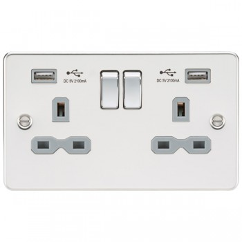 Knightsbridge Flat Plate Polished Chrome 2 Gang 13A Switched Socket with Dual USB Charger - Grey Insert