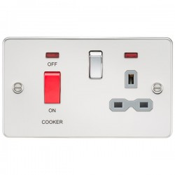 Knightsbridge Flat Plate Polished Chrome DP Switch and 13A DP Switched Socket with Neon - Grey Insert