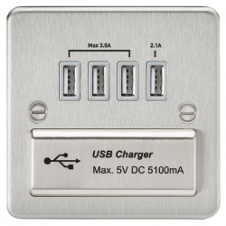 Knightsbridge Flat Plate Brushed Chrome 1 Gang Quad USB Charger Outlet - Grey Insert