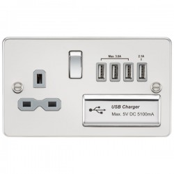 Knightsbridge Flat Plate Polished Chrome 13A Switched Socket with Quad USB Charger - Grey Insert