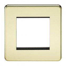 Knightsbridge Screwless Polished Brass 2 Gang Modular Faceplate