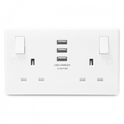 BG White Moulded Rounded Edge 2 Gang 13A Switched Socket with Triple USB Outlet