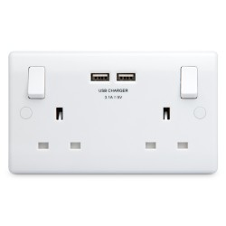 BG White Moulded Rounded Edge 2 Gang 13A Switched Socket with Dual USB Outlet
