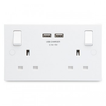 BG White Moulded Square Edge 2 Gang 13A Switched Socket with Dual USB Outlet