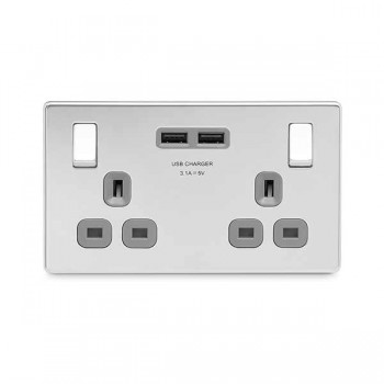 BG Nexus Flatplate Screwless Polished Chrome 2 Gang 13A Switched Socket with Dual USB Outlet and Grey Insert