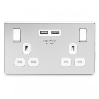 BG Nexus Flatplate Screwless Polished Chrome 2 Gang 13A Switched Socket with Dual USB Outlet and White Insert
