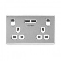 BG Nexus Flatplate Screwless Brushed Steel 2 Gang 13A Switched Socket with Dual USB Outlet and White Insert