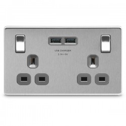 BG Nexus Flatplate Screwless Brushed Steel 2 Gang 13A Switched Socket with Dual USB Outlet and Grey Insert