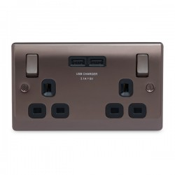 BG Nexus Metal Black Nickel 2 Gang 13A Switched Socket with Dual USB Outlet and Black Insert
