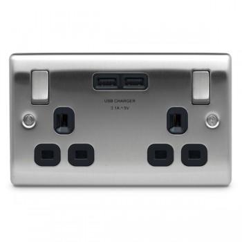 BG Nexus Metal Brushed Steel 2 Gang 13A Switched Socket with Dual USB Outlet and Black Insert