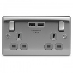 BG Nexus Metal Brushed Steel 2 Gang 13A Switched Socket with Dual USB Outlet and Grey Insert