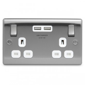 BG Nexus Metal Brushed Steel 2 Gang 13A Switched Socket with Dual USB Outlet and White Insert