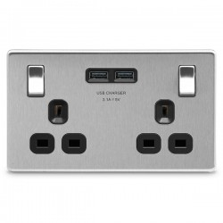 BG Nexus Flatplate Screwless Brushed Steel 2 Gang 13A Switched Socket with Dual USB Outlet and Black Insert