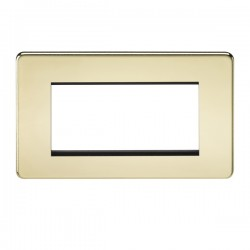 Knightsbridge Screwless Polished Brass 4 Gang Modular Faceplate