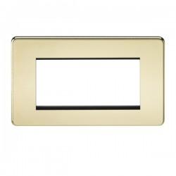 Knightsbridge Screwless Polished Brass 4 Gang Modular Faceplate