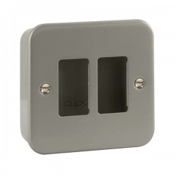 Click Metal Clad GridPro 2 Gang Front Plate and Back Box (No Knockouts)