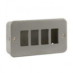 Click Metal Clad GridPro 4 Gang Front Plate and Back Box