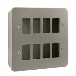 Click Metal Clad GridPro 8 Gang Front Plate and Back Box (No Knockouts)