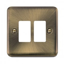 Click Deco Plus GridPro Antique Brass 2 Gang Front Plate