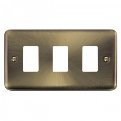 Click Deco Plus GridPro Antique Brass 3 Gang Front Plate