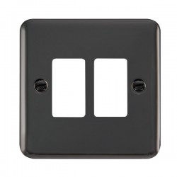 Click Deco Plus GridPro Black Nickel 2 Gang Front Plate