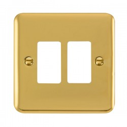 Click Deco Plus GridPro Polished Brass 2 Gang Front Plate