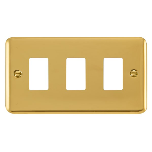 click deco plus gridpro polished brass 3 gang front plate at uk electrical supplies. Black Bedroom Furniture Sets. Home Design Ideas