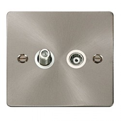 Click Define Brushed Steel Flat Plate Single Gang Television/Coaxial Outlet with White insert