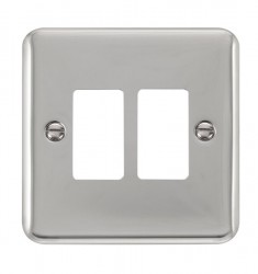 Click Deco Plus GridPro Polished Chrome 2 Gang Front Plate